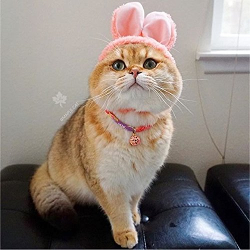 Necoichi Chirimen Cat Collar with Clover Bell (Pastel Pink) by Necoichi (Image #1)