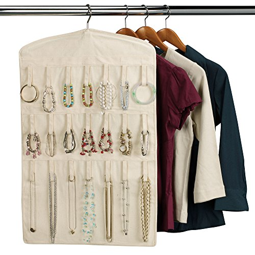 Household Essentials Bracelet and Necklace Hanging Jewelry Organizer, Natural Canvas