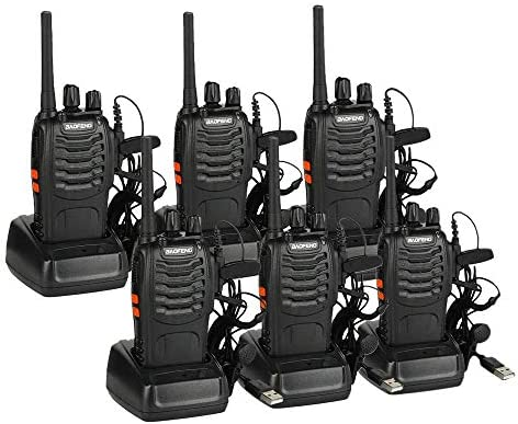 BAOFENG BF-88A Walkie Talkie Upgrade Version BF-888S Pre-Programmed FRS Two Way Radio Rechargeable 16 Channels with USB Desktop Charger Earpiece Free Cable, 6 Pack
