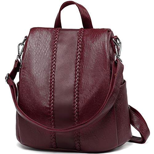 Backpack Purse for Women,VASCHY Fashion Faux Leather Anti-theft Backpack for Ladies with Vintage Weave (Burgundy)