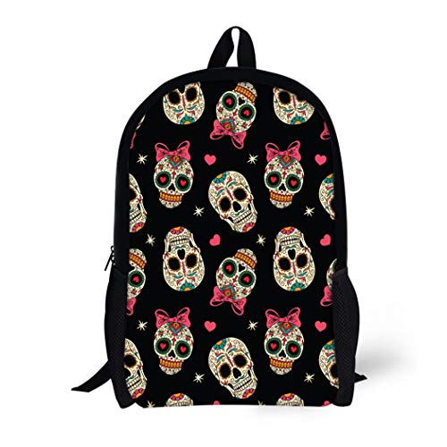 Pinbeam Backpack Travel Daypack Yellow Sugar Mexican Skulls Pattern Day Dead Carnival Waterproof School -