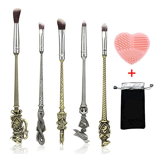 Potter Makeup Brushes with Gifts, Magic School Wand Cosmetic Brushes Set for Women Girls Eye Face Lid Blending Beauty [5PCS]