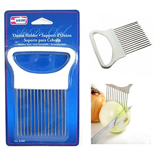 Get 1 New Onion Holder Slicing Guide Stainless Steel Prongs Holds Slice Aid Cutting save