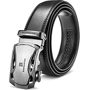 Big Sale New BOSTANTEN Men's Leather Ratchet Dress Belt with Automatic Sliding Buckle Black