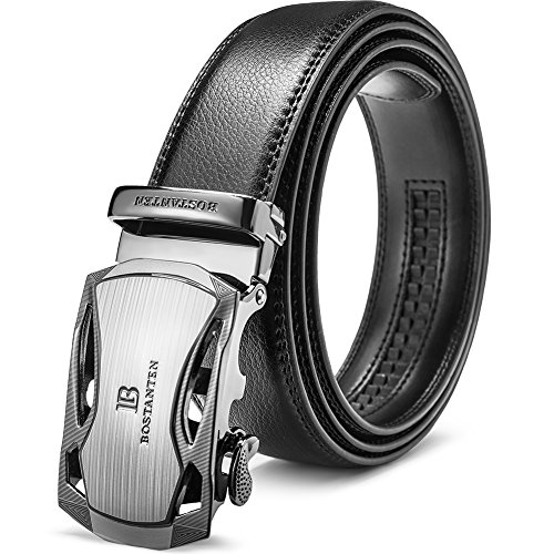 BOSTANTEN Men's Leather Ratchet Dress Belt with Automatic Sliding Buckle Black Designer Star Belt Buckle