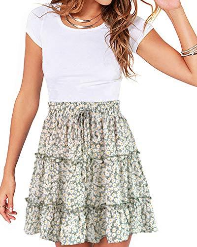 YOINS Women's Suspender Skirts Basic High Waist Versatile Flared Skater Skirt C-Floral Green S