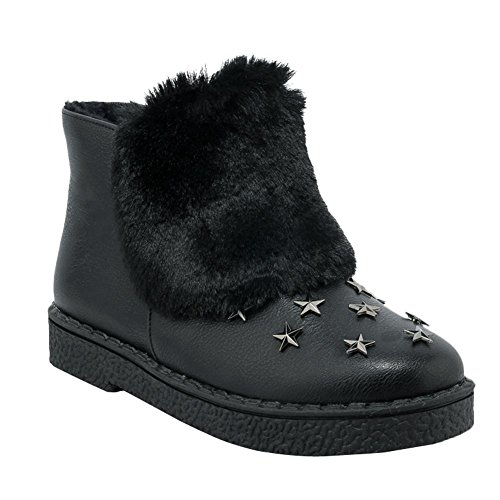Carolbar Dames Stervormige Klinknagel Faux Fur Zip Warm Snow Boots Zwart