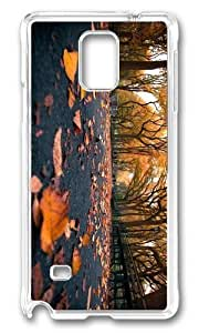Adorable autumn park leaves Hard Case Protective Shell Cell Phone Case For iphone 4s Cover - PC Transparent