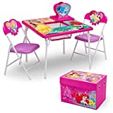 Delta Children 4-Piece Kids Furniture Set (Storage Table with 2 Chairs & Fabric Toy Box), Disney Princess