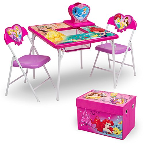 Delta Children 4-Piece Kids Furniture Set (Storage Table with 2 Chairs & Fabric Toy Box), Disney Princess (Princess Art Disney Desk)