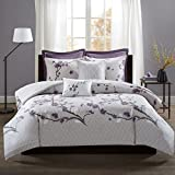 Purple and Grey Duvet Sets Madison Park Holly Duvet Cover Full/Queen Size - Purple, Grey, Geometric Floral Duvet Cover Set – 7 Piece – 100% Cotton Sateen Face, CVC Reverse Light Weight Bed Comforter Covers