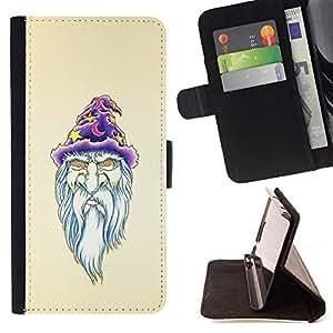 - PORTRAID WHITE BEARD OLD ART WITCH WIZZARD - - Prima caja de la PU billetera de cuero con ranuras para tarjetas, efectivo desmontable correa para l Funny HouseFOR Samsung Galaxy Note 4 IV