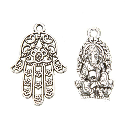 Monrocco 60 Pcs Antique Silver Ganesha Charms Elephant Buddha Charms and Filigree Hamasa Hand Charms Religious Charms Pendant Set for Bracelets Necklace Jewelry Making (Charms For Jewelry Making Buddha)