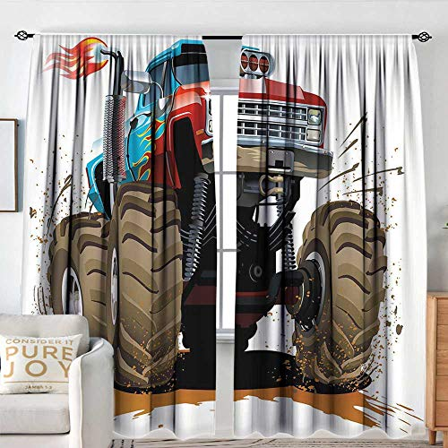 Petpany Blackout Curtains Man Cave Decor,Monster Truck Splashing Mud Graphic Design Flame Machinery Engine Wheels,Multicolor,Rod Pocket Curtain Panels for Bedroom & Kitchen 72