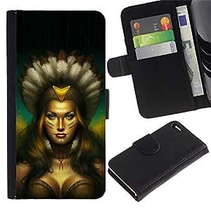 KingStore / Leather Etui en cuir / Apple Iphone 4 / 4S / Mujer india nativa Sexy Amazon Pechos