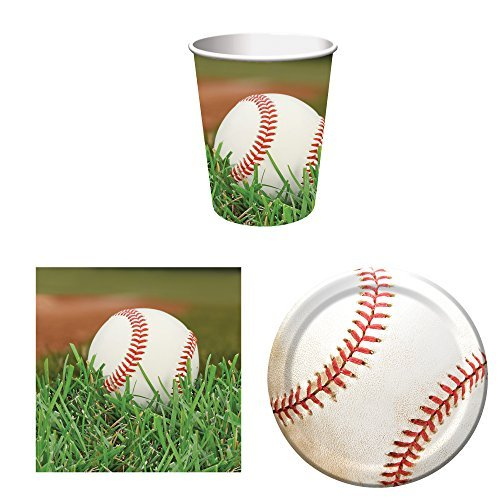 Sports Fanatic Baseball Party Supplies Set for 16: Plates, Napkins, and Cups (Baseball Party Supplies)