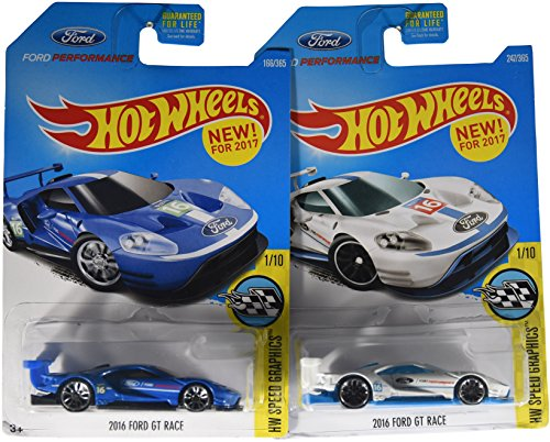 Amazon Com Hot Wheels  Hw Speed Graphics  Ford Gt Race   Set Of  Cars Blue White Toys Games