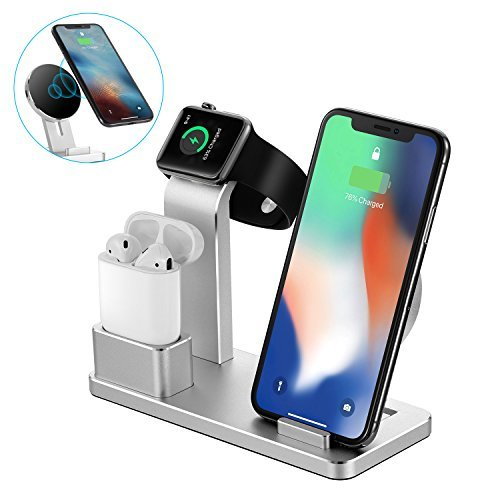 NEXGADGET 4 in 1 Aluminum Charging Stand For Apple Watch and AirPods,Detachable Wireless Charger for iPhone X/8/8 Plus Samsung Galaxy S9/S9 Plus/Note 8/S8/S8 Plus/S7 and All Qi-Enabled Devices by NEXGADGET