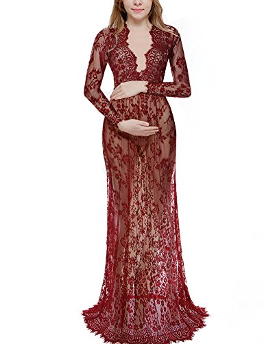 [Saslax Women's Deep V-Neck Long Sleeve Lace See-through Wedding Maxi Dress,Wine,XX-Large] (Halloween Costumes For Asian Women)