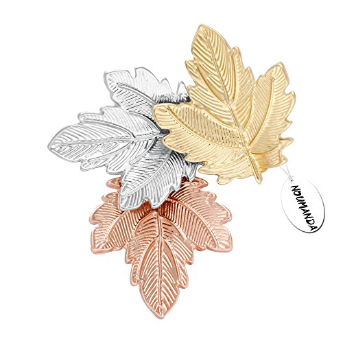 NOUMANDA Women Bijoux Autumn Leaf Jewelry Three Maples Leaves Brooch Pin (maple leaves) - Maple Leaf Pin Brooch