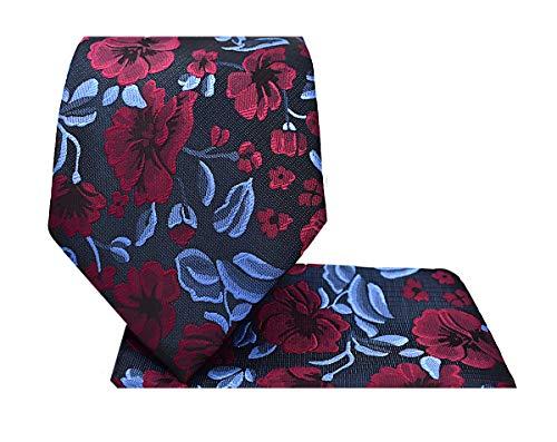 Set Necktie Handkerchief - 3.5 Floral Necktie Set #65-F-Burgundy/Blue