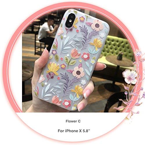 "[CaserBay] iPhone X Case / iPhone 10 Phone Case (5.8"") Cartoon Kawaii Cute Animal, Birdie, Flower Series Emboss Texture Painting Translucent Soft Slim Phone Cover (Flower C)"