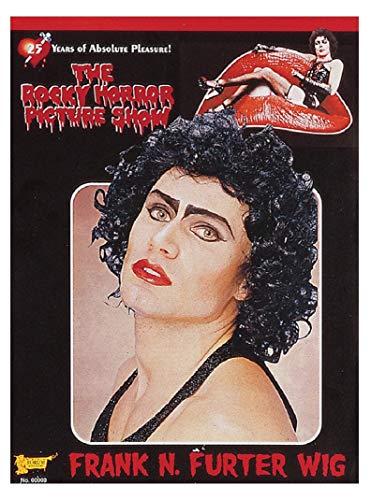 UHC Rocky Horror Frank N Furter Black Curly Wig Halloween Costume Accessory