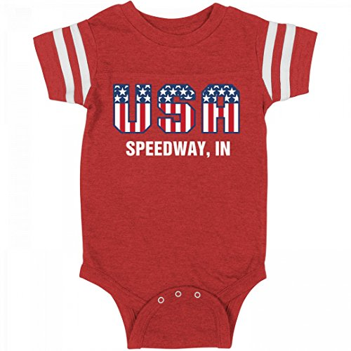 FUNNYSHIRTS.ORG July 4th USA Baby Speedway, In: Infant Rabbit Skins Football - Suit Usa Speed