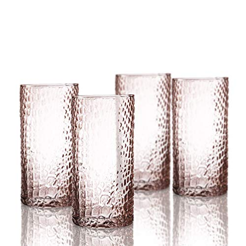 Elle Decor Bistro Croc 4 Pc Set Highball, Pink-Glass Elegant Barware and Drinkware, Dishwasher Safe, 15.5 Oz
