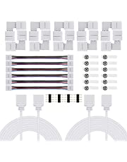 Keten LED Light Connector Kit Including L Shape Connectors, Strip to Strip Jumpers, 4 Pin Male Connectors