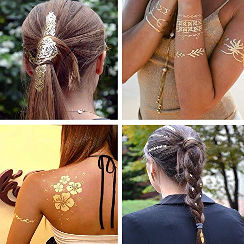 Metallic Temporary Tattoos Boho Henna - Over 85 +, Gold and Silver (7 Sheets) Mandala Mehndi Designs Jewelry Tattoos