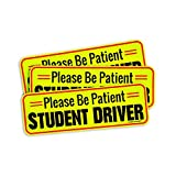 Student Driver Magnet Please Be Patient Safety Sign (Reusable) Premium Quality Reflective Warning Student Driver Bumper Safety Sign(3Pack)