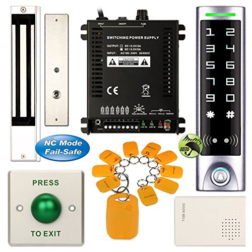 DIY Access Control Waterproof Keypad Office RFID Password System Kit + Electric Magnetic Door Lock NC Fail Safe by Generic