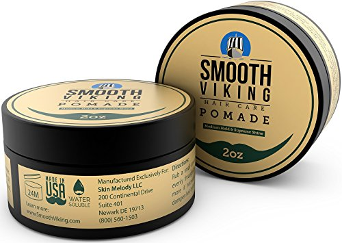 Pomade for Men – Medium Hold & High Shine – Hair Styling Formula for Straight, Thick and Curly Hair – 2 OZ – Smooth Viking