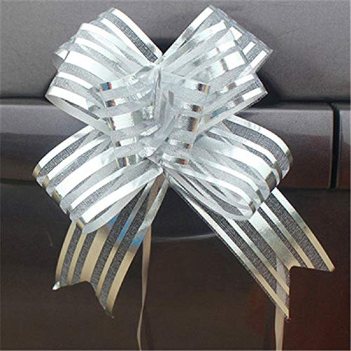 10pcs High Quality Organza Pull Flower Ribbon Bow Gift Wrap Candy Box Accessories DIY Wedding Car Decor Supplies Flower Ribbons (Silver)