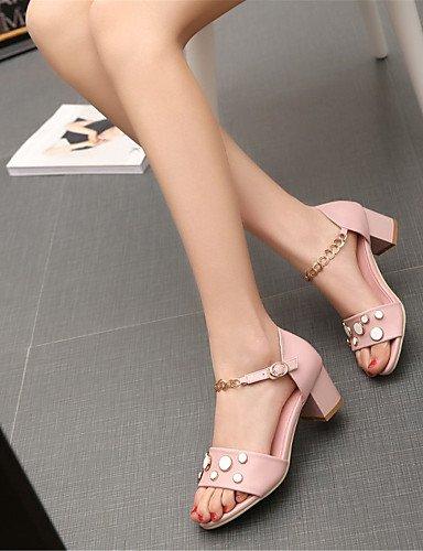 Tacones Semicuero Tacón Boda mujer Noche y de Casual LFNLYX White Vestido Sandalias Zapatos Fiesta Robusto Blanco Rosa OtqPXw