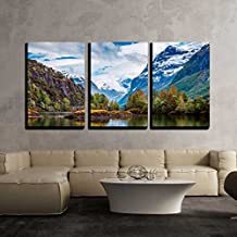 "wall26 - 3 Piece Canvas Wall Art - Beautiful Nature Norway natural landscape. - Modern Home Decor Stretched and Framed Ready to Hang - 16""x24""x3 Panels"