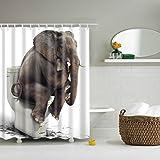 Homneer 72'x72' Bathroom Decoration Waterproof Polyester Shower Curtain Panel Elephant