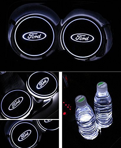 Bearfire Car Logo LED Cup Pad led cup coaster USB Charging Mat Luminescent Cup Pad LED Mat Interior Atmosphere Lamp Decoration Light (Ford)