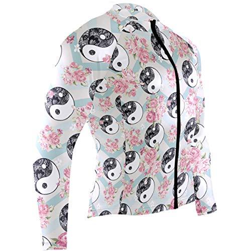 Men's Cycling Jersey Ying Yang Long Sleeve Breathable Biking Shirts Riding Wear, XL