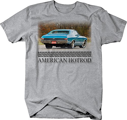 Bold Imprints American Hotrod Chevy Chevelle SS Blue Muscle Car Tshirt - Large