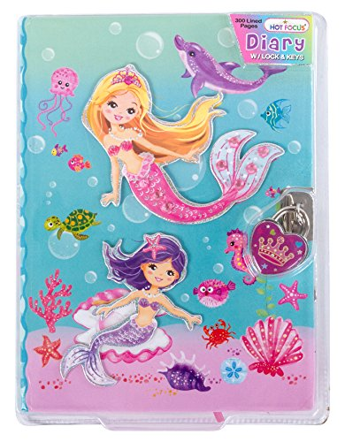 """(Hot Focus Mermaid Secret Diary with Lock – 7"""" Journal Notebook with 300 Double Sided Lined Pages, Padlock and Two Keys for Kids)"""
