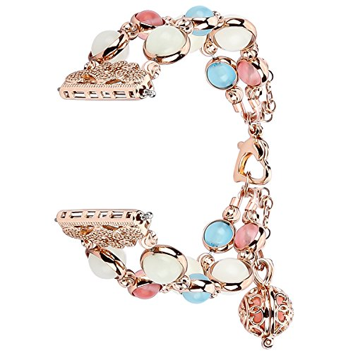 iMYMAX for Fitbit Versa Band Adjustable Crystal Pearl Bracelet Replacement Women Girls Wristband for Fitbit Versa Smart Watch Updated Style (Rose Pink Fluorescent)
