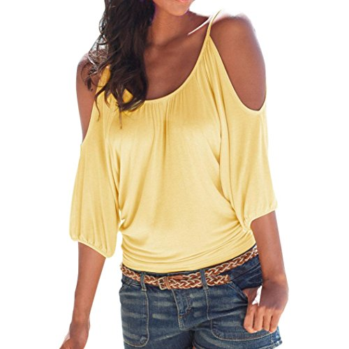 Limsea 2019 Women's Casual Loose Hollowed Out Shoulder Three Quarter Sleeve Shirts Yellow