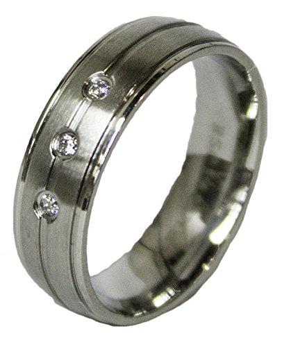 - Men's Stainless Steel Dress Ring 3 Round Cut CZ Band 082 (12)
