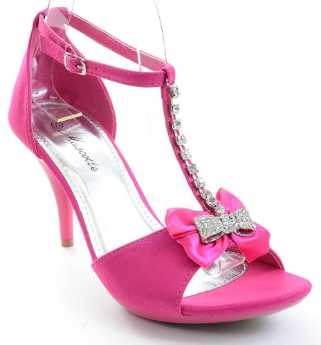 Low Womens Pink Heel Jeweled Funky Fourever Bow Sandal Synthetic Hochzeit Braut OqHH1P6n