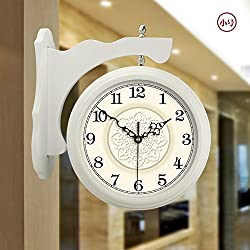 CGGHY 16 Inches (40.5 Cm In Diameter) Solid Wood Double-Sided Wall Clocks Chinese-Style Living Room Creative American Pastoral European Wood Double-Sided Quartz Clock Trumpet White