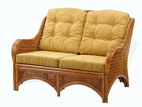 Jam Design Handmade Rattan Wicker Lounge Loveseat Sofa Couch with Thick Light Brown Cushion Colonial