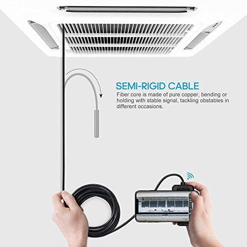 DEPSTECH 1200P Wireless Endoscope 11.5FT 2.0 MP HD WiFi Borescope Inspection Camera 16 inch Focal Distance Snake Camera with Phone Holder and Magical Claw for Android /& iOS Smartphone Tablet