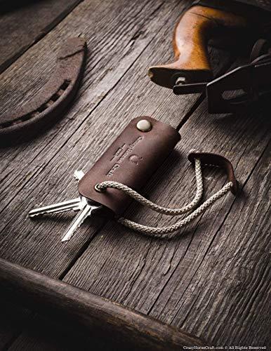 Leder Key Organizer & Halter | Wood Brown, echte Crazy Horse Leder Schlüsseletui, Schlüsselkoffer, Schlüsselring, Schlüsselanhänger, key holder, keychain, perfekte Geschenk für ihn, Crazy Horse Craft